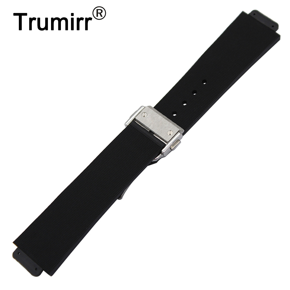 Convex Silicone Rubber Watchband 23x15mm 26x19mm 28x19mm for Hublot Watch Band Butterfly Buckle Strap Wrist Belt Bracelet Black silicone rubber watchband double side wearing strap for armani ar watch band wrist bracelet black blue red 21mm 22mm 23mm 24mm