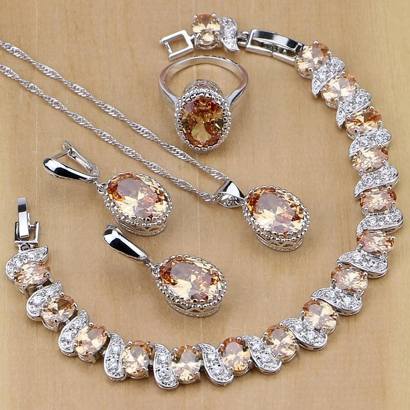 925 Sterling Silber Braut Schmuck Champagner Zirkon Schmuck Sets Für Frauen Ohrringe/Anhänger/Halskette/Ringe/Armband