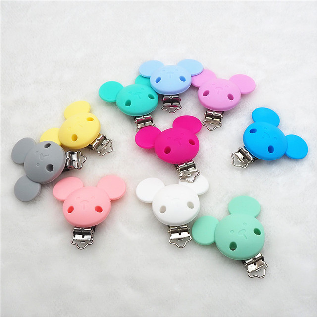 Chengkai 10pcs Silicone Mickey Teether Clips DIY Baby Cat Mouse Animal Pacifier Dummy Soother Nursing Jewelry Toy Accessories