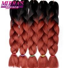 Mirra של מראה 5pcs ג מבו צמת שיער סרוגה צמות סינטטי שיער Ombre קולעת תוספות שיער שלושה טון 24 סנטימטרים