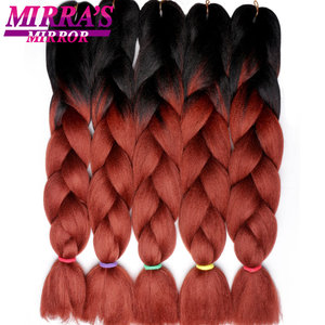 Image 1 - Mirra's Mirror 5pcs Jumbo Braid Hair Crochet Braids Synthetic Hair Ombre Braiding Hair Extensions Three Tone 24inches