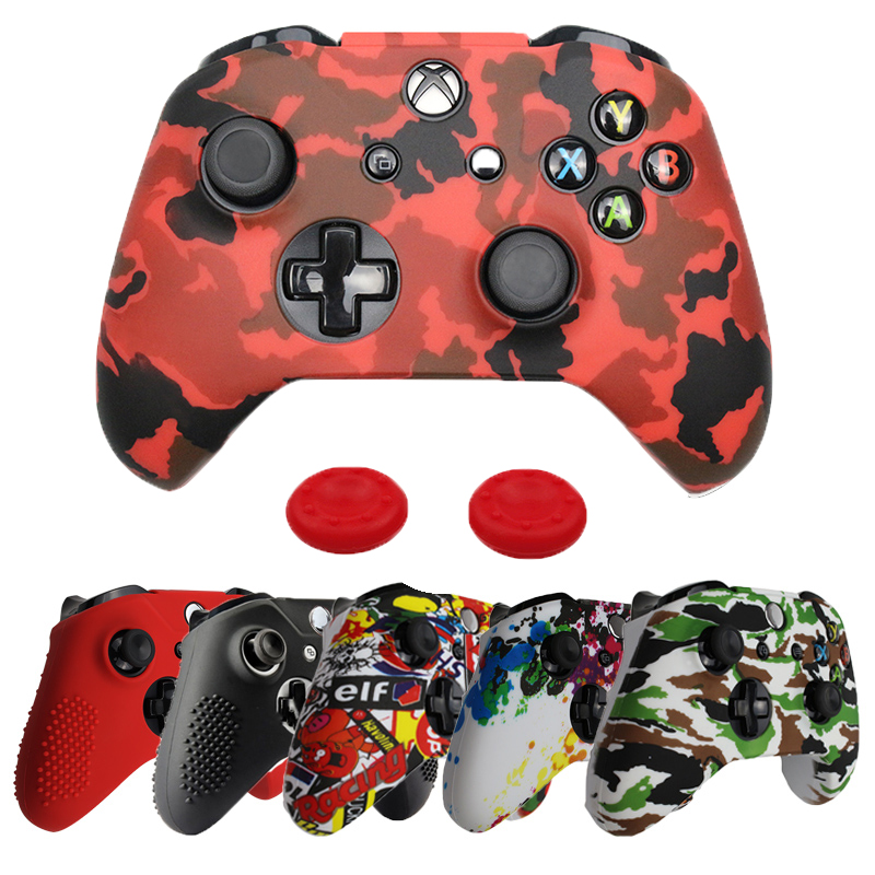Silicone Case + Analog Sticks Grip For Xbox One S Controller Protective Skin Cover For Xbox One Slim Gamepad Camouflage
