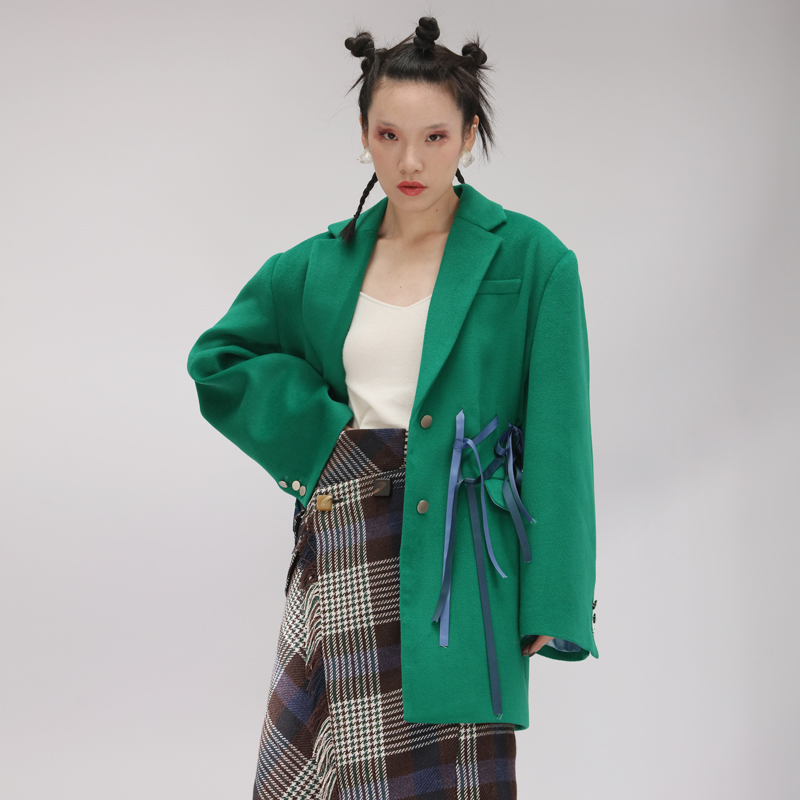 Poitrine Unique Hiver Up Bureau Arc Laine Manteau Blazer Veste Travail Automne De Mode Designer Épais Mince Femmes Dentelle Solide q6xIRZISw