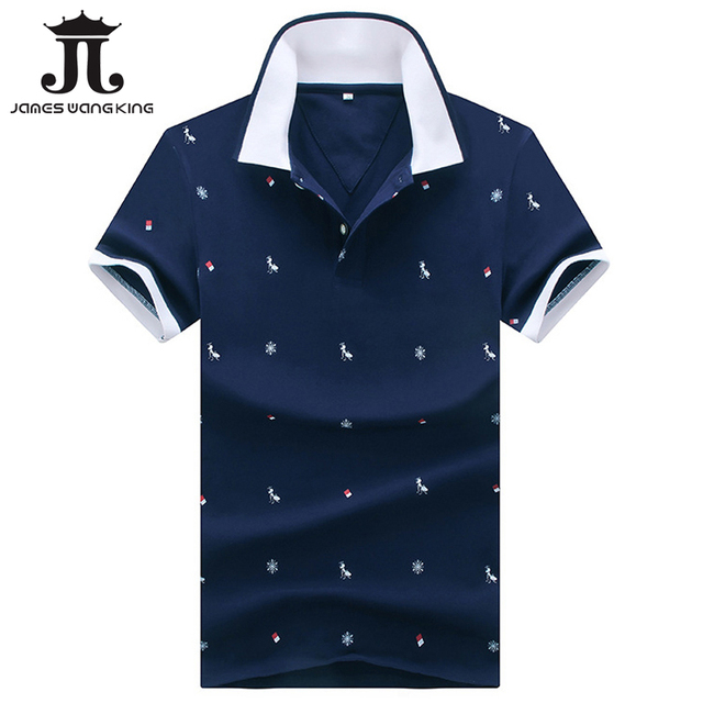 239717acc77 Новинка 2018 г. Модные Для мужчин рубашки поло Slim Fit короткий рукав  животных печати поло