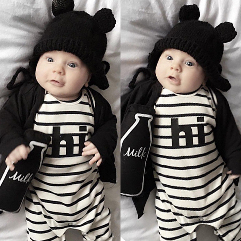 Warm Newborn Baby Girl Boy Kids Clothes Romper Long Sleeve Striped Hi Letter Jumpsuit Playsuit Outfit Autumn 2pcs children outfit clothes kids baby girl off shoulder cotton ruffled sleeve tops striped t shirt blue denim jeans sunsuit set