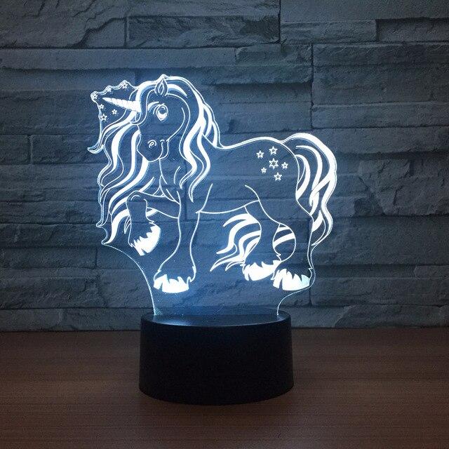 Precioso Unicornio Cambio de Color LED Luz de La Noche 3D USB  Regalo Creativo 1