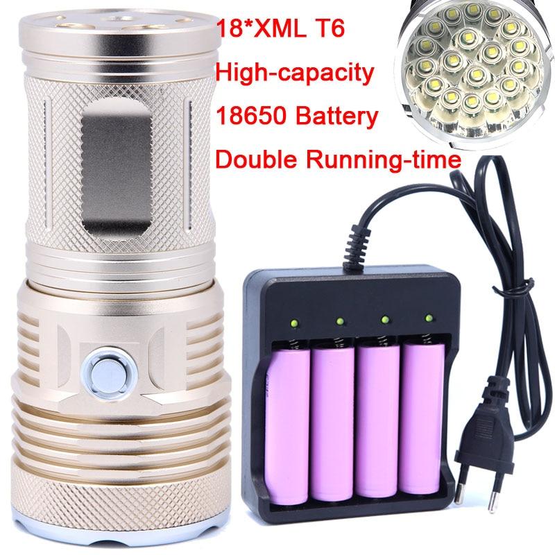 2018 New 40000LM 18 x CREE XM-L T6 LED 3 Modes Flashlight Torch 4 x 18650 Hunting Lamp Super bright High Quality 18650 Battery стоимость