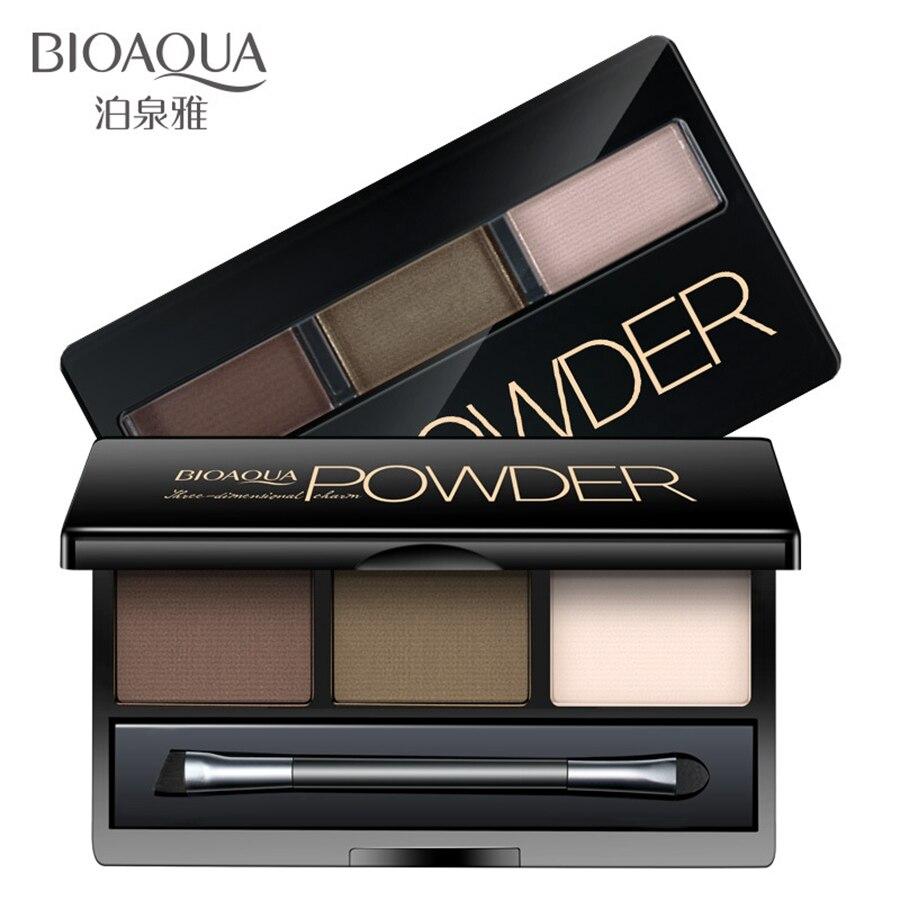 BIOAQUA 3 Colors Earth Tone Eyebrow Powder Palette Makeup Shading Mirror Box Eye Brow Powder Brush Cosmetic <font><b>Make</b></font> UP