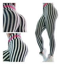 3D printing high waist Women's Fashion Sexy Leggings Vertical Stripe Stretch Legging Black White Spandex seamless Zebra Pants