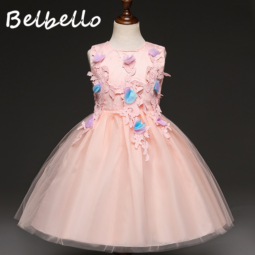 Belbello New Girls Dress Autumn Kid Children Princess Dress Mesh Floral Sequins Sweet Casual Fashion Bowknot Children Clothing