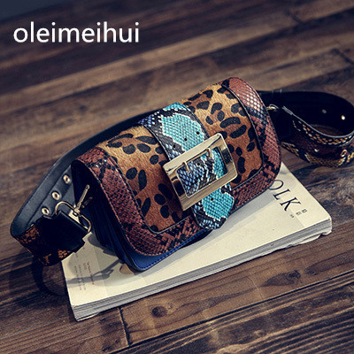 Serpentine hit color small square package European and American Retro Pack Handbags Women Messenger bags Shoulder Leopard bag