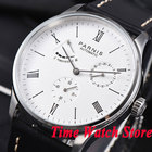<+>  Parnis мужские часы DATE Power Reserve белый циферблат 42мм корпус 5ATM ST1780 с автоматическим меха ✔
