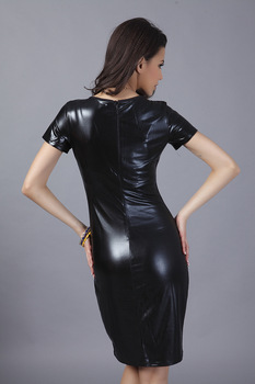 Pop Nice otoño mujer Celeb cuello redondo manga corta negro vestido niña ceñido traje elástico vestidos después de cremallera vestido talla grande S-XXL