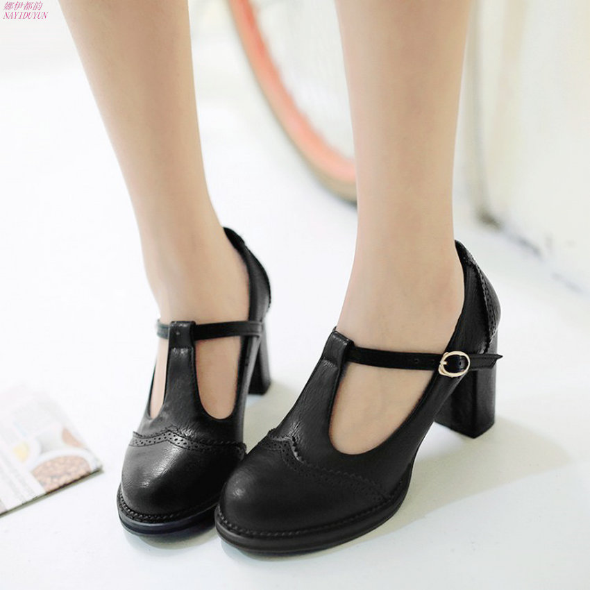 NAYIDUYUN Fashion Women T Strap Cuban High Heels Ankle Boots Round Toe Office Mary Janes Low Top Party Pumps Casual Shoes nayiduyun women casual shoes low top platform wedge high heels boots round toe slip on pumps punk chic shoes black white sneaker
