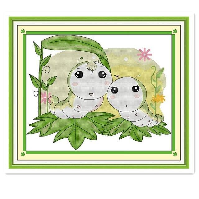 Gusanos bebé familia planta flor pinturas puntada cruzada contada ...