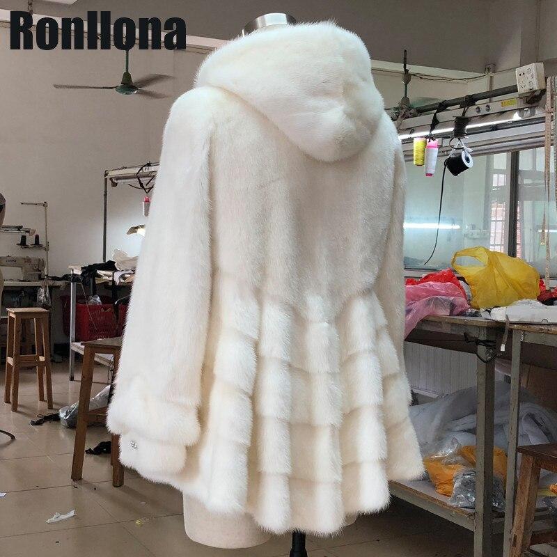 2018 nouveau 100% réel peau entière naturel vison fourrure manteaux femmes hiver chaud fourrure manteau avec capuche jupe Style gros gros vestes de fourrure