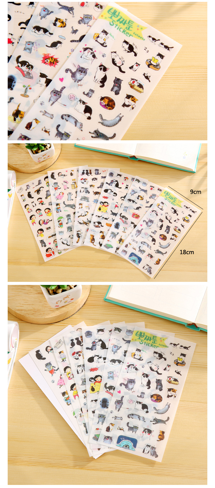 Scrapbook paper and stickers -  6 X Korea Stationery Wholesale Cute Cat Transparent Background Sticker Diary Decorative Stickers Scrapbook Paper Diary
