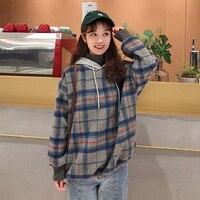 HAYBLST Brand Women Hoodies Fleece 2019 Autumn Winter Fashion Plaid Patchwork Clothing Plus Size 2XL Korean Womens Loose Hoodies