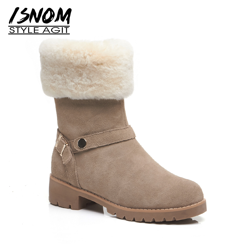 ISNOM Cow Suede Women Snow Boots Round Toe Warm Lambswool Footwear Thick Heels Female Ankle Boots Platform Shoes Woman WinterISNOM Cow Suede Women Snow Boots Round Toe Warm Lambswool Footwear Thick Heels Female Ankle Boots Platform Shoes Woman Winter