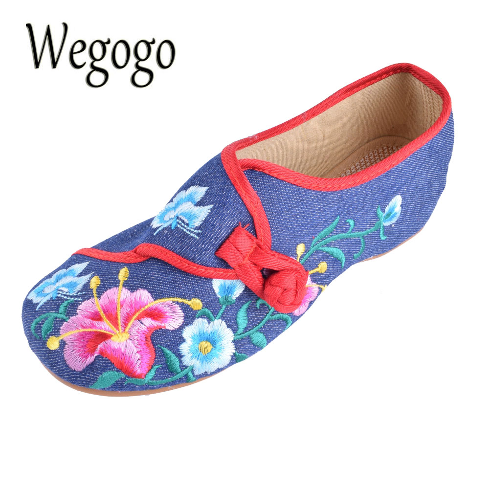 Wegogo Women Flats Cloth Shoes Chinese Floral Embroidered Casual  Soft Canvas Dance Ballet Flat Shoes Woman women flats old beijing floral peacock embroidery chinese national canvas soft dance ballet shoes for woman zapatos de mujer