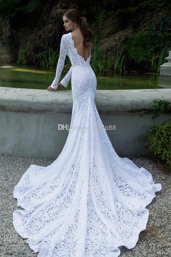 White Vintage Lace Bateau Ribbon Backless Mermaid Berta Bridal Winter Long Sleeve Wedding Dresses Gowns