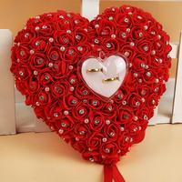 חתונה טובה לתלות טבעת כרית עם Transprent אדום כרית עיצוב לב תיבה עם ריינסטון פרל דקור קישוט