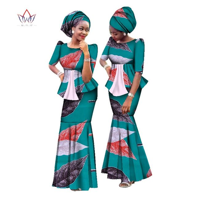 f76477ec225 New African Wax Print Women Set dashiki Plus Size African Clothes Outfits   Headtie  Traditional African