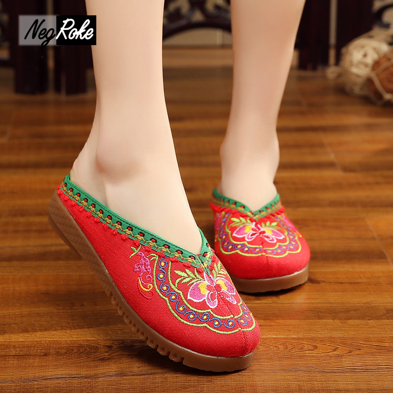 Plus size43 Chinese embroidery sandals oxford shoes for women slippers flip flops casual ladies mules chinelo