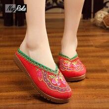 Plus size43 Chinesische stickerei sandalen oxford schuhe für frauen hausschuhe flip-flops casual damen pantolette chinelo feminino terlik