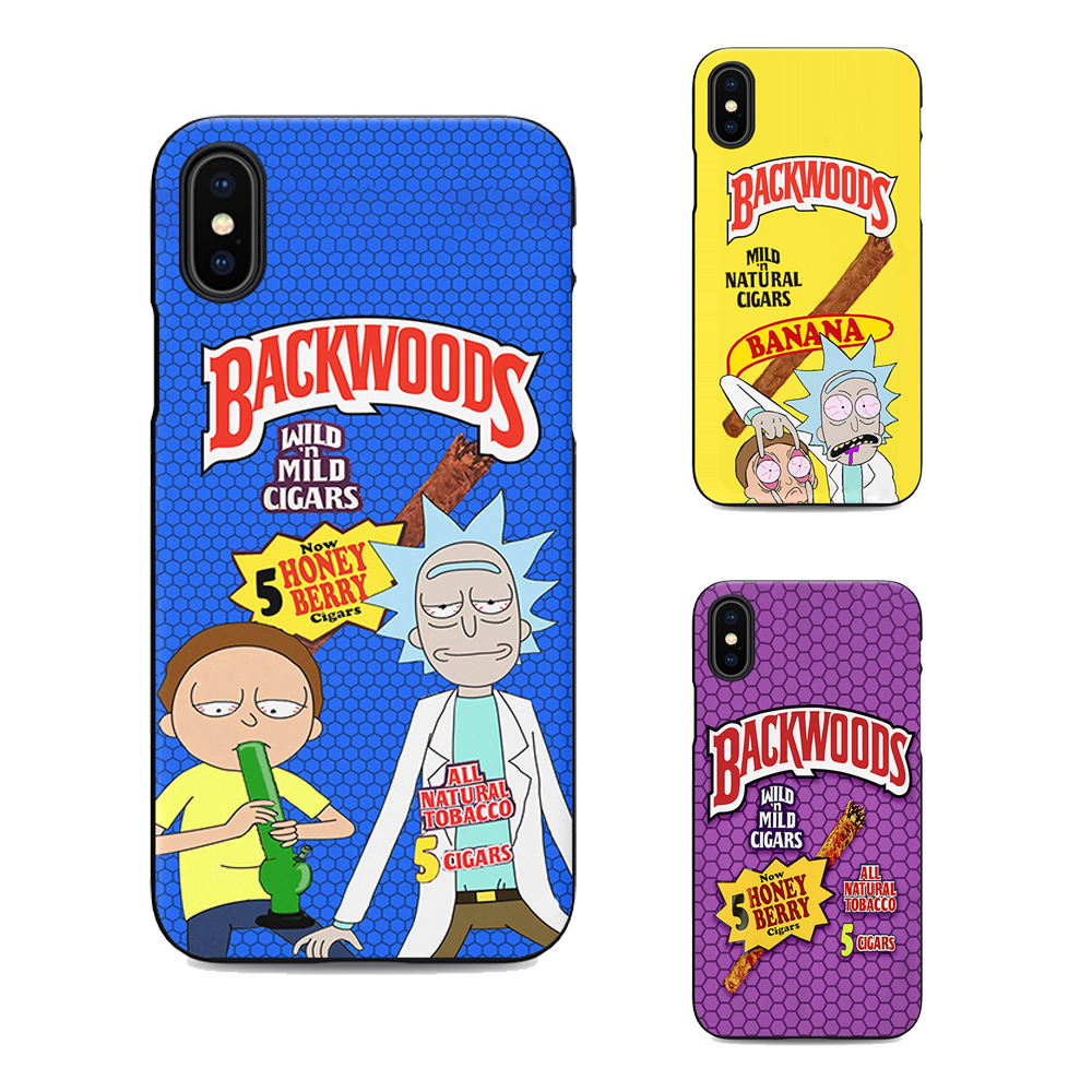 new product 4bce4 8a8d5 Rick And Morty Backwoods Soft Silicone Black Cover Phone Iphone XS XR Max 6  7 8 Plus 5 5S 6S Se For Apple X Housing