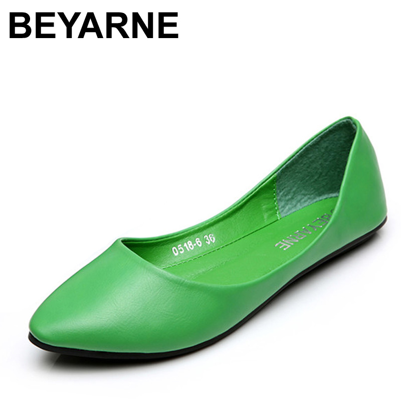 BEYARNE Women Shoes Fashion Pointed Toe Slip-On Flat Shoes Woman Comfortable Single Casual Flats Spring Autumn Size 35-41 zapato pu pointed toe flats with eyelet strap