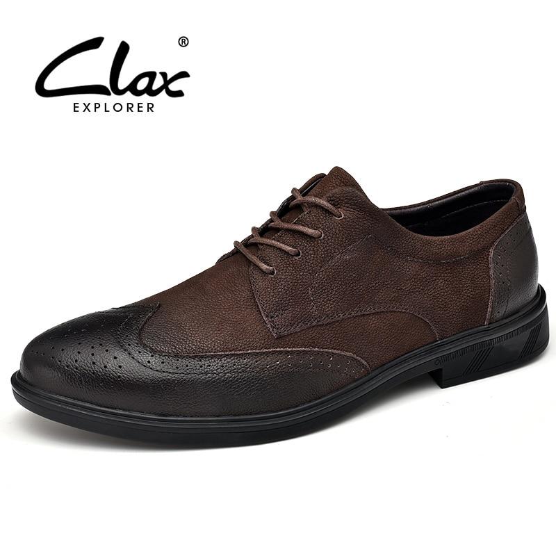 CLAX Man Brogues Genuine Leather Mens Formal Shoe Male Wedding shoe Dress Oxfords Footwear luxury brand