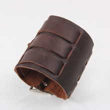 JINSE New arrival Punk Cuff Leather Bangle Men Women Cool 3 Layer Belt Buckle Wide Genuine Bracelet Wristband PSL277