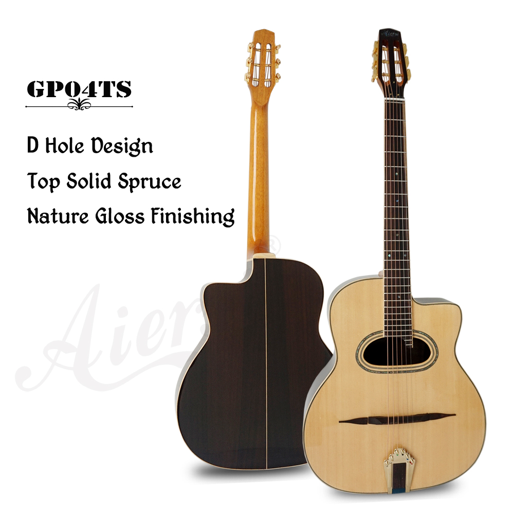 Aiersi Handmade Grande Bouche Selmer Django Manouche Acoustic Gypsy Jazz Guitar With Free Case and Strap