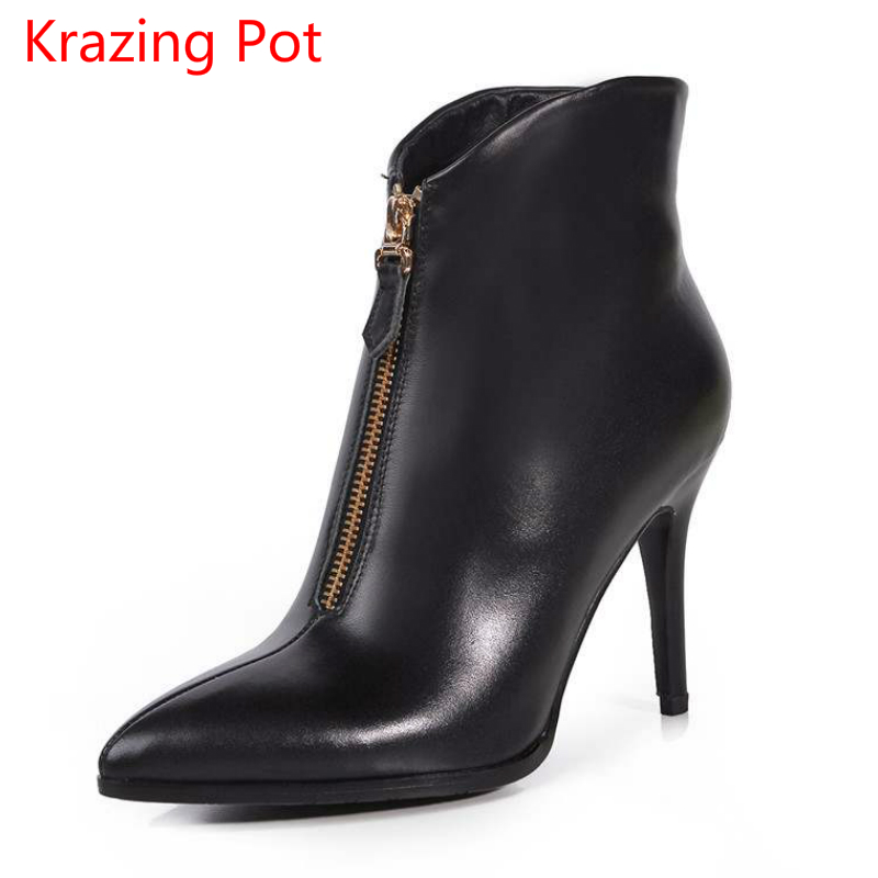 Krazing Pot fashion brand winter shoes black thin high heels women ankle boots pointed toe lady warm zipper motorcycle boots L63 full grain leather women thin heels elegant work ankle boots pointed toe fashion zipper lady office shoes black