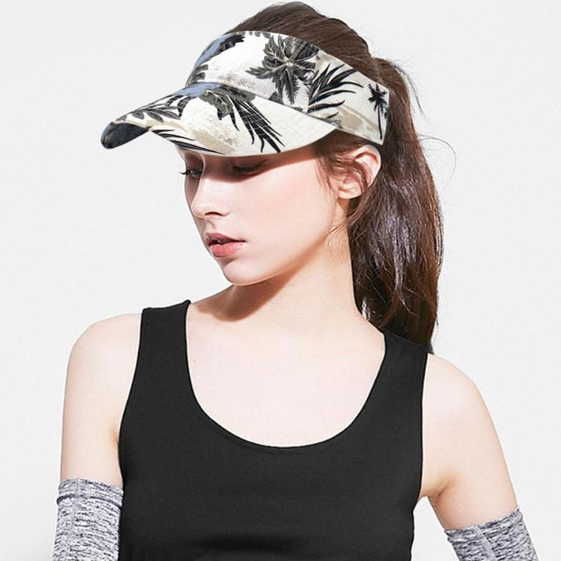 Women Summer Beach Hat Girls Floral Sports Hats Tennis Cap Outdoor Empty Top Hat Headband Classic Sun Sports Visor Hats Cap