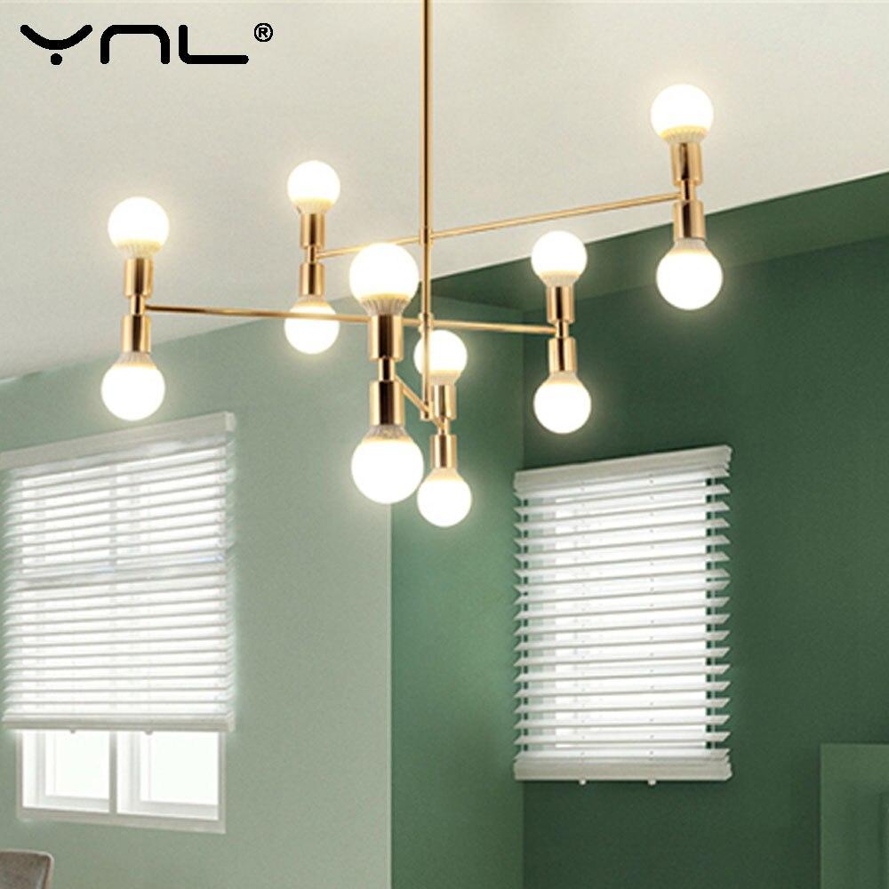 Современный подвесной светодиодный подвесной светильник светодиодный E27 светодиодная лампа 12 головок светильники вращающийся черный золо