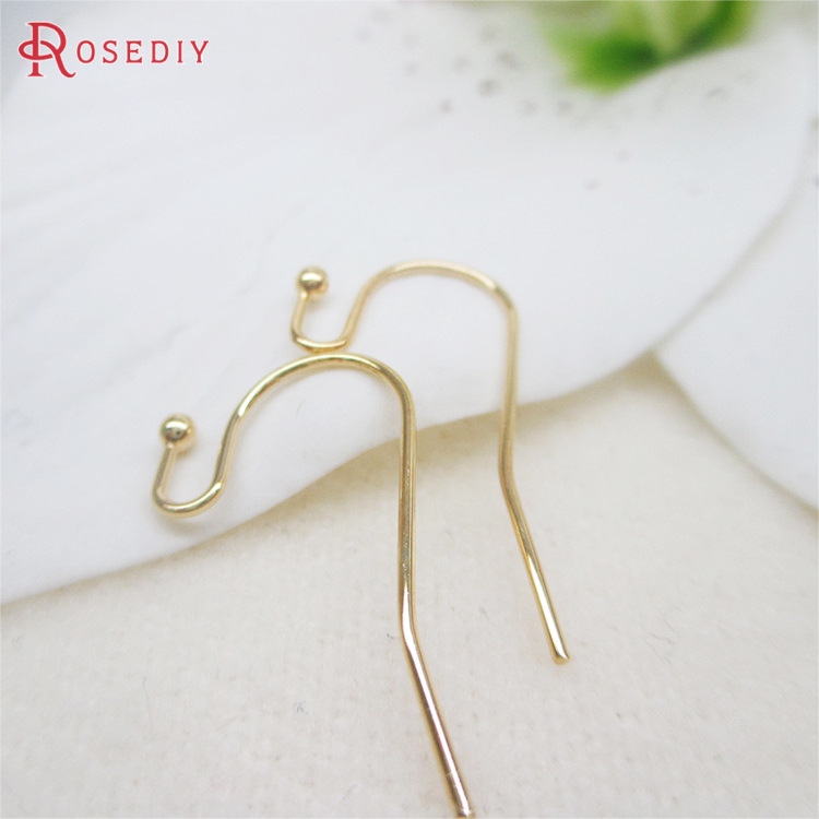 10PCS Height 22MM 24K Champagne Gold Color Plated Brass Earring Hooks High Quality Diy Jewelry Findings Accessories Wholesale