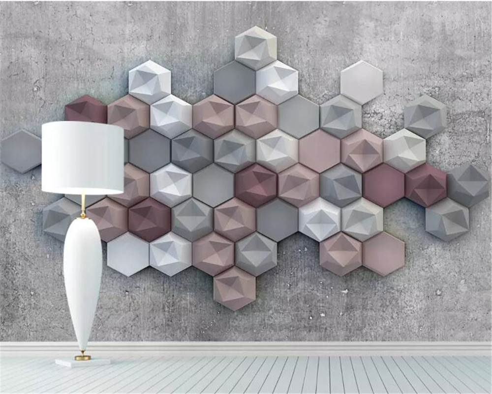 Beibehang  Papel De Parede Customized Photo Wallpaper 3D Stereo Art Vintage Geometry Wallpaper For Walls 3 D Papier Peint Mural