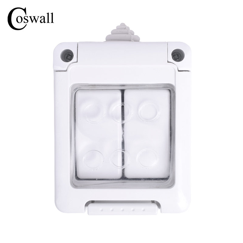 Coswall CE Certification IP44 Level Waterproof Dust-proof Outdoor External Wall Switch 2 Gang Push Button Light Switch