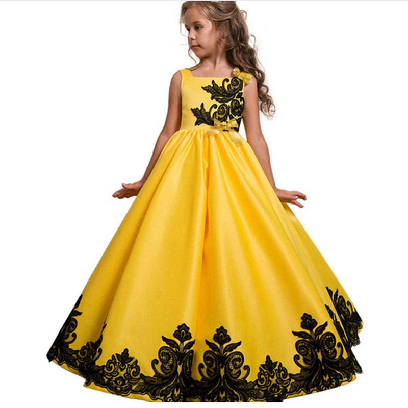 Kids Girls Wedding Flower Girl Dress Elgent Princess Party Pageant Formal Dress Sleeveless Silk Tulle Dress 3-14 years 2017 kids girls wedding flower girl dress princess party pageant formal dress crossed back sleeveless lace tulle dress 2 14y
