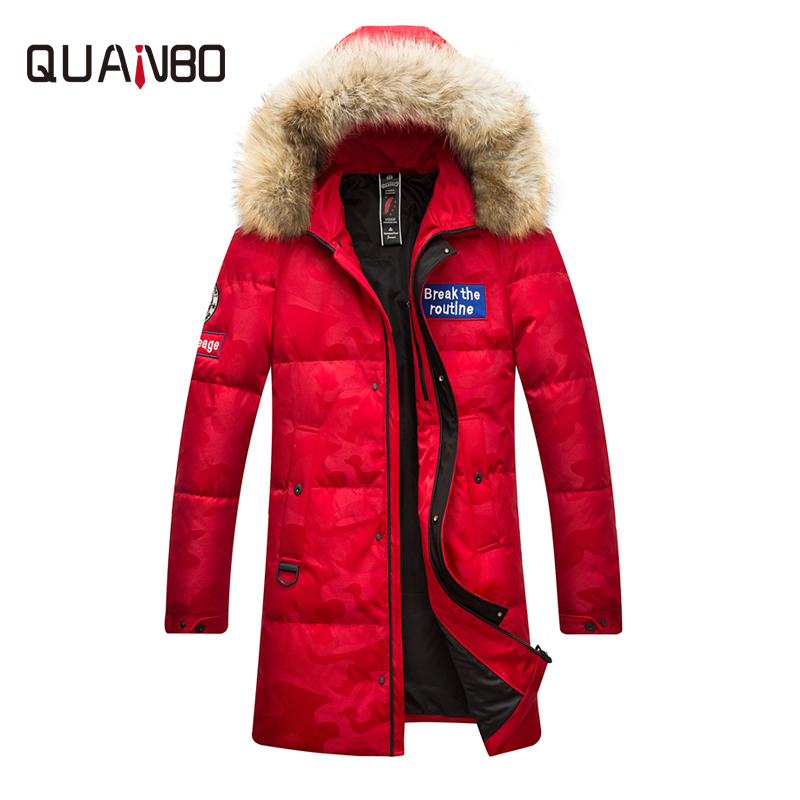 QUANBO 2018 Russian Winter   Down   Jacket Men's and Women's Camouflage Casual Parkas High Quality Fur Hooded Thicken Warm   Coat
