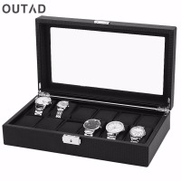 12 Grids 1PC Watch Box Case PU Leather Carbon Black Outer Black Inside Pillow Watch Storage Organizer Wristwatch Holder