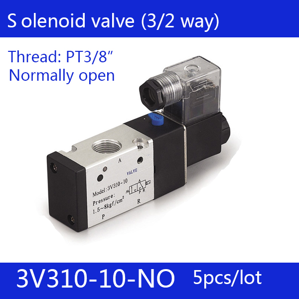 5PCS Free shipping Pneumatic valve solenoid valve 3V310-10-NO Normally open DC12V 24V AC220V,3/8 , 3 port 2 position 3/2 way free shipping repairing part 3 pin din plug led solenoid valve connector ac 220v