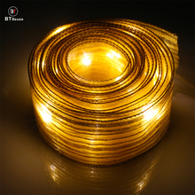 BTgeuse 5M Organza Golden Striped Ribbon Lights for Bedroom Holiday Party Wedding Christmas and Garden Decoration Warm White