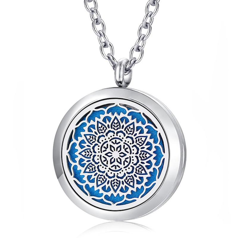 Collar de aromaterapia Medallones Magnético de plata Acero inoxidable 316L Difusor de aceite esencial Aroma Medallón Colgante Collares Joyería