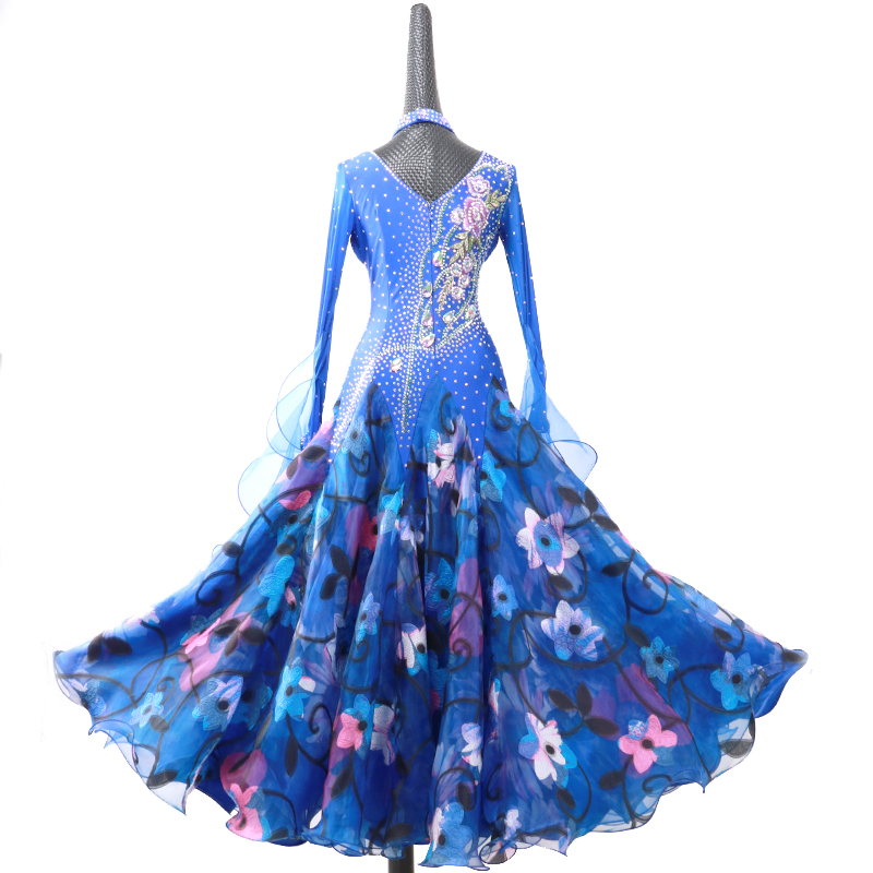 customize blue ballroom dance competition dresses for ballroom dancing  waltz dress smooth ballroom dresses china waltz costumes-in Ballroom from  Novelty ... 514b43684