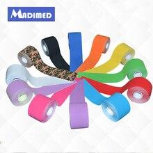 MADIMED 12 цветов/лот хлопковая кинезиологическая лента эластичная клейкая спортивный пластырь для мышц, сужающийся для занятий спортом