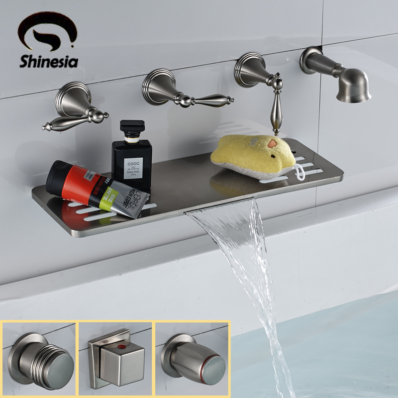 Wall Mounted Nickel Brushed Bathroom Tub Faucet Solid Brass Waterfall Spout Bathtub Mixer Tap with Hand Shower
