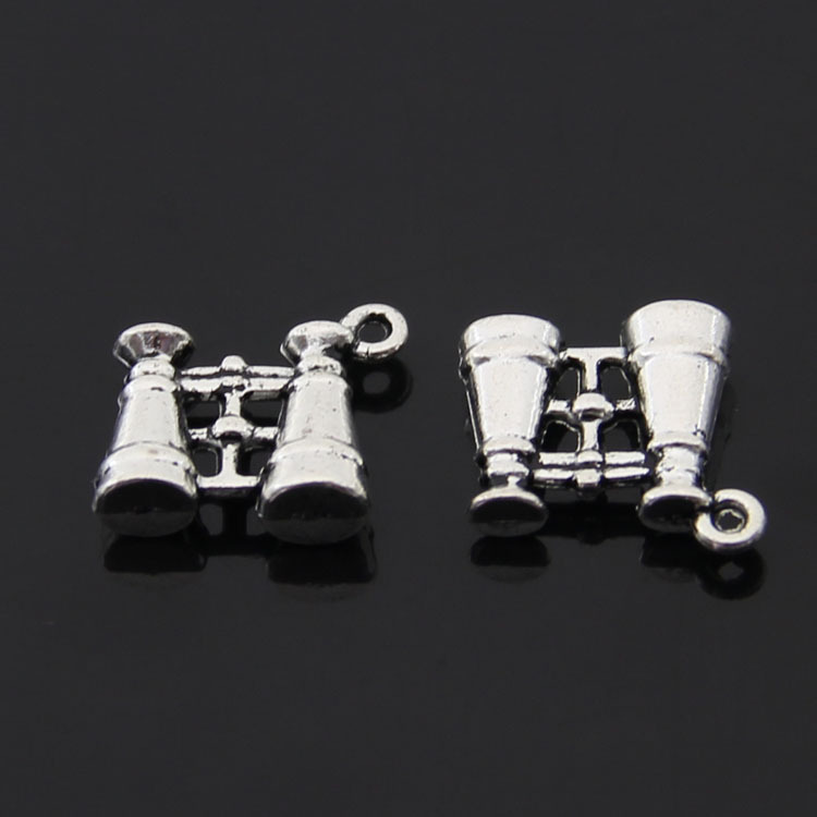 Free Shipping 25 Pieces/lot 15x14mm Silver Binoculars Charms pendant Retro Jewelry For Bracelet Necklace